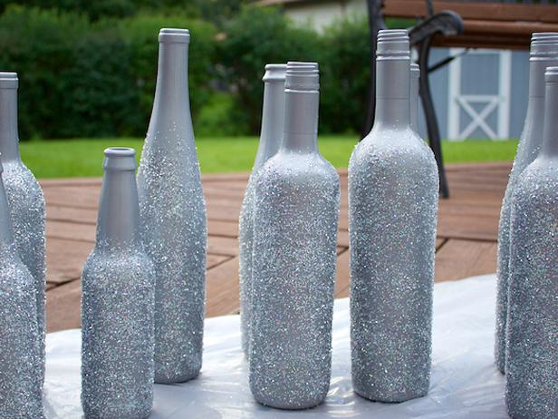 Блестящая бутылка: мастер класс с глиттером