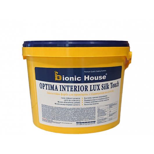 Краска интерьерная Bionic House Optima Interior Lux silk touch устойчивая к частому мытью белая шелковисто-матовая