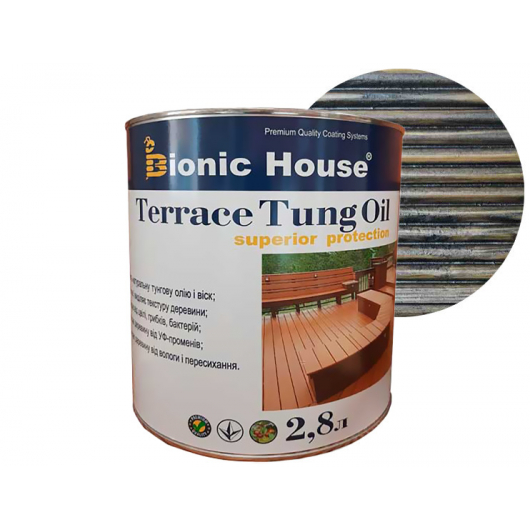 Масло террасное Bionic House Terrace Tung oil с тунговым маслом Черное - интернет-магазин tricolor.com.ua