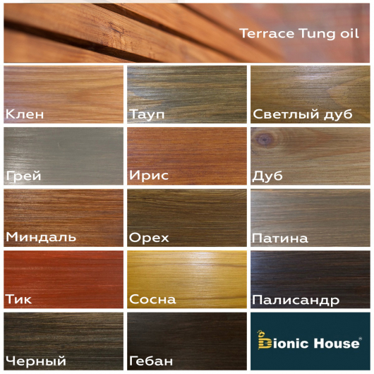Масло террасное Bionic House Terrace Tung oil с тунговым маслом Черное - изображение 4 - интернет-магазин tricolor.com.ua