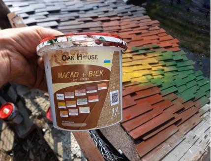 Масло-воск для дерева Oak House Прозрачное водоотталкивающее с защитой от грибка - изображение 3 - интернет-магазин tricolor.com.ua