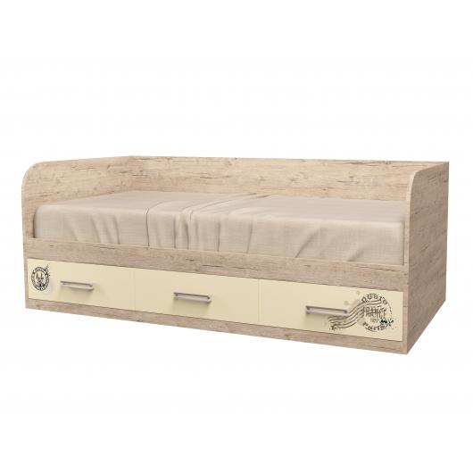 Кровать подростковая Travel Ваниль с 3 ящиками 120х190 рисунок