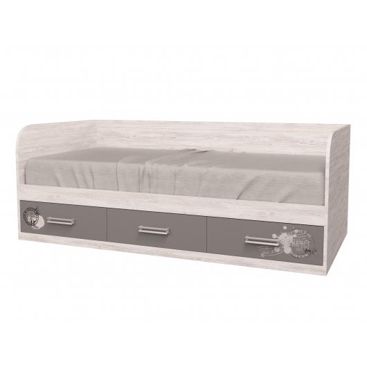 Кровать подростковая Junior Аляска антрацит с 3 ящиками 90х190 рисунок