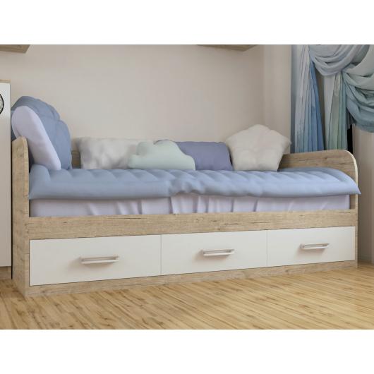 Кровать подростковая Junior Шервуд белый с 3 ящиками 80х190 - изображение 2 - интернет-магазин tricolor.com.ua