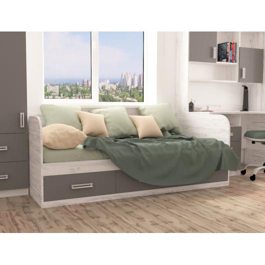 Кровать подростковая Junior Аляска антрацит с 3 ящиками 80х190 - изображение 2 - интернет-магазин tricolor.com.ua