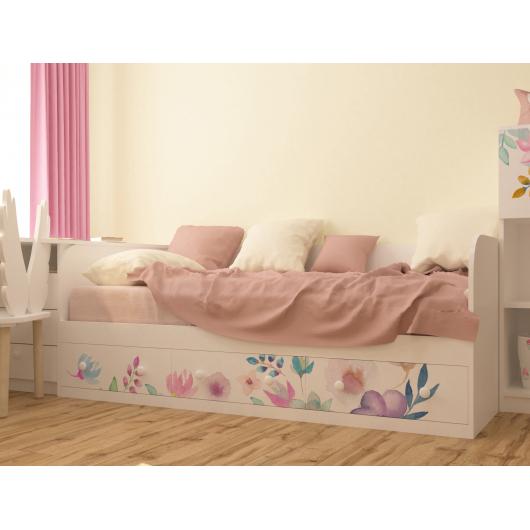 Кровать подростковая Цветы с 3 ящиками 120х190 - изображение 2 - интернет-магазин tricolor.com.ua