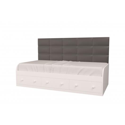Кровать подростковая Элли Белая Серая с 3 ящиками 120х190 с мягкой спинкой