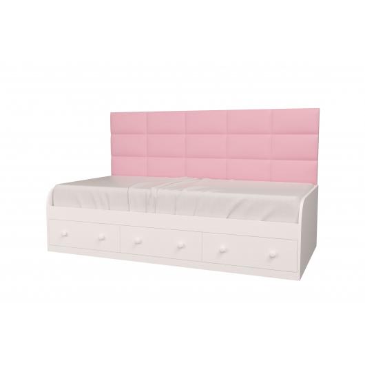 Кровать подростковая Элли Белая Розовая с 3 ящиками 120х190 с мягкой спинкой