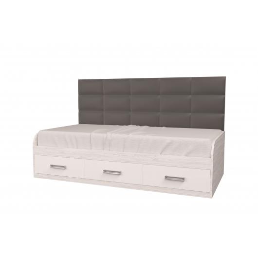 Кровать подростковая Элли Аляска Белый с 3 ящиками 90х190 с мягкой спинкой