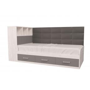 Кровать подростковая Элли Аляска Антрацит с 3 ящиками 90х190 с мягкой спинкой и коробом