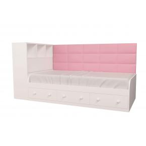 Кровать подростковая Элли Белая Розовая с 3 ящиками 90х190 с мягкой спинкой и коробом