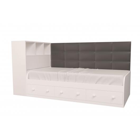 Кровать подростковая Элли Белая Серая с 3 ящиками 90х190 с мягкой спинкой и коробом