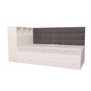 Кровать подростковая Элли Белая Серая с 3 ящиками 120х190 с мягкой спинкой и коробом