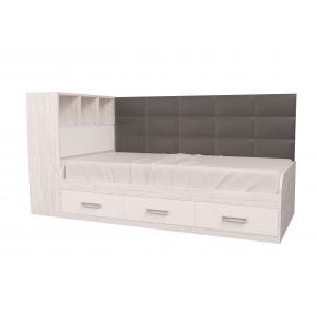 Кровать подростковая Элли Аляска Белый с 3 ящиками 120х190 с мягкой спинкой и коробом