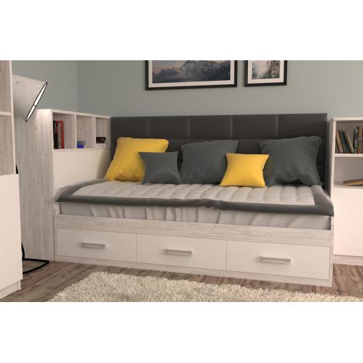 Кровать подростковая Элли Аляска Белый с 3 ящиками 120х190 с мягкой спинкой и коробом - изображение 2 - интернет-магазин tricolor.com.ua