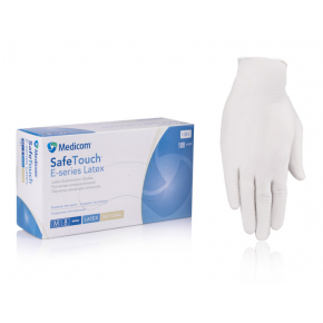 Перчатки латексные Medicom SafeTouch M с пудрой белые (упаковка 50 пар) - интернет-магазин tricolor.com.ua