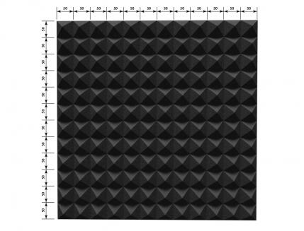 Панель «Пирамида» из негорючего (самозатухающего) акустического поролона EchoFom «Brilliance» 600х600х50 мм черная - изображение 3 - интернет-магазин tricolor.com.ua