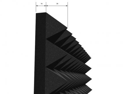 Панель «Пирамида» из негорючего (самозатухающего) акустического поролона EchoFom «Brilliance» 600х600х50 мм черная - изображение 2 - интернет-магазин tricolor.com.ua
