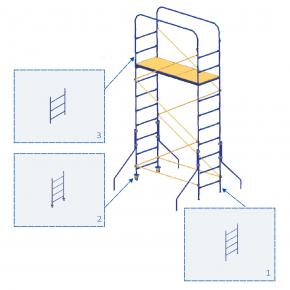 Элемент мини-подмостей Будмайстер стойка-лестница 0,65*0,96 м MP H96