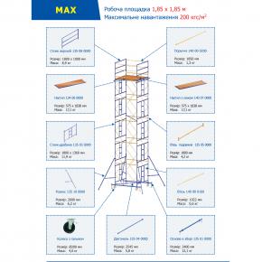 Элемент подмостей Будмайстер балка горизонтальная 1,8 м MSM L180 - изображение 2 - интернет-магазин tricolor.com.ua