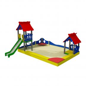 Комплекс на песке Kidigo Клуб веселья 4,5х3,7х2,1 м, высота спуска 0,9 м