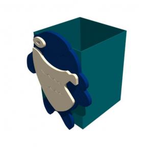 Урна для детской площадки (боковое крепление) с декором Kidigo 0,5х0,5х0,6 м - интернет-магазин tricolor.com.ua