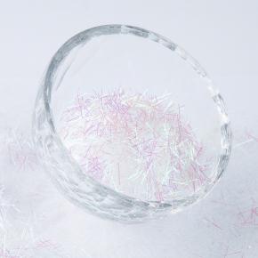 Глиттер Мишура Tricolor BX-AB 0,3*10 мм белый (розово-зеленый)
