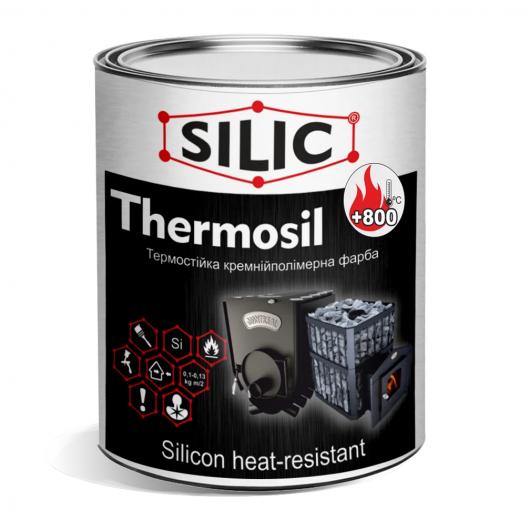 Краска термостойкая кремнийполимерная для печей и каминов Silic Thermosil-800 черная - интернет-магазин tricolor.com.ua