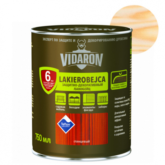Лакобейц защитно-декоративный Vidaron L01 бесцветный - интернет-магазин tricolor.com.ua