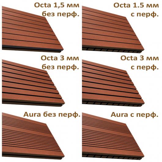 Акустическая панель Perfect-Acoustics Octa 1,5 мм с перфорацией шпон Орех 10.19 Wavy American Walnut негорючая - изображение 2 - интернет-магазин tricolor.com.ua