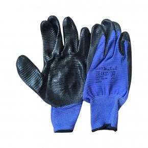 Рабочие перчатки Ribbon 10 c нитриловым покрытием черно-синие - интернет-магазин tricolor.com.ua