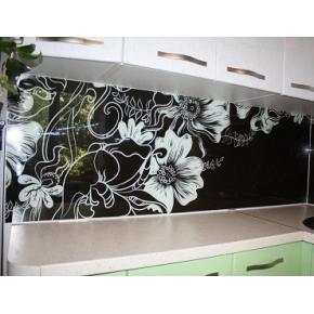 Кухонный фартук из стекла с покраской в 2 цвета - интернет-магазин tricolor.com.ua