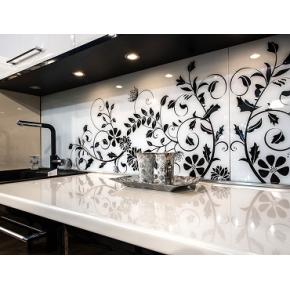Кухонный фартук из супер чистого стекла с покраской в 2 цвета