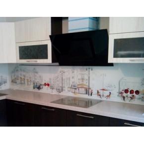 Кухонный фартук из супер чистого стекла фотопечать с вырезом - изображение 2 - интернет-магазин tricolor.com.ua