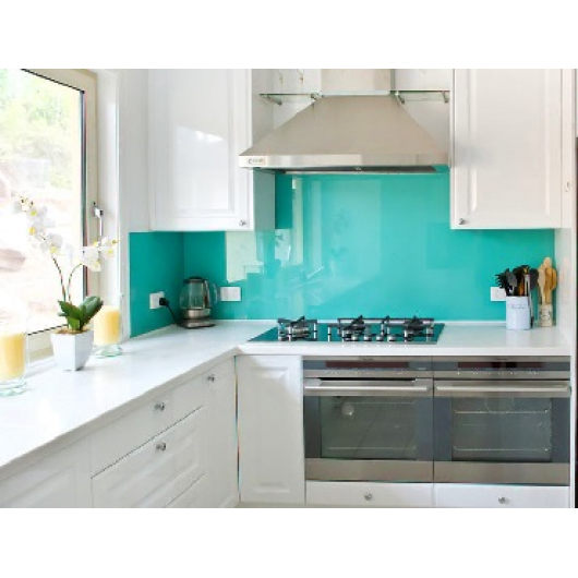 Кухонный фартук из стекла с вырезом,покраска в 1 цвет - интернет-магазин tricolor.com.ua