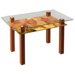 Стеклянный обеденный стол SW6 1200*700 верх:прозрачный низ:покраска