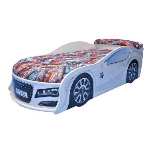 Кровать машина Audi белая 80х180 ДСП - интернет-магазин tricolor.com.ua