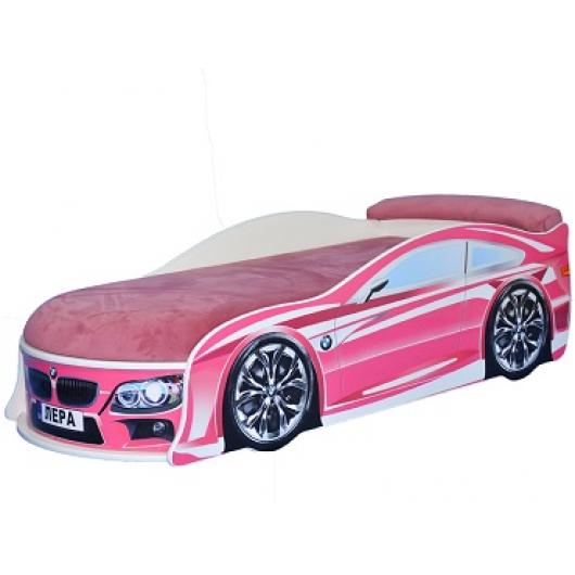 Кровать машина BMW розовая 80х180 ДСП - интернет-магазин tricolor.com.ua