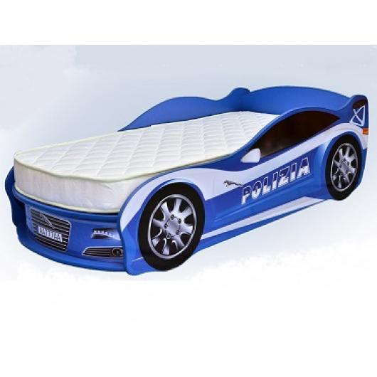 Кровать машина Jaguar полиция синяя 70х150 ДСП - интернет-магазин tricolor.com.ua