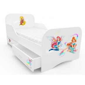 Кроватка Винкс с цельным бортиком 80х160 ДСП
