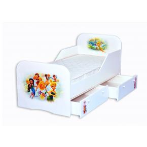 Кроватка Фея Динь-Динь с цельным бортиком 80х160 ДСП
