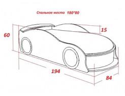 Кровать машина Jaguar для девочек 80х170 ДСП - изображение 2 - интернет-магазин tricolor.com.ua