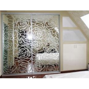 Двери для шкафа купе зеркало с рисунком сатин