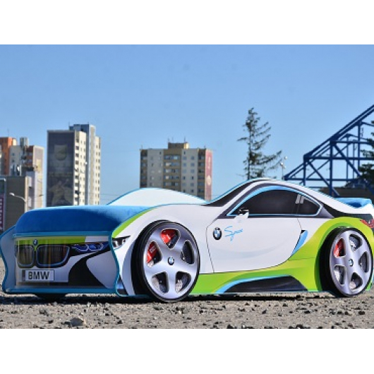 Кровать машина BMW space белая 70х150 без подъемного механизма - интернет-магазин tricolor.com.ua
