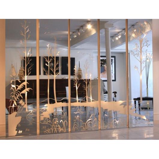Зеркальная стеновая панель с декором - интернет-магазин tricolor.com.ua