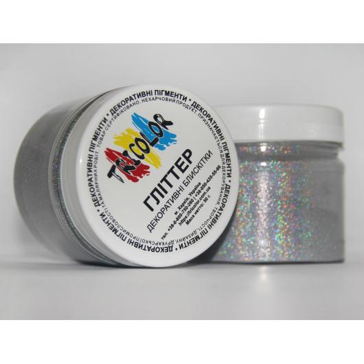 Глиттер лазерный серебряный Tricolor SL-001/36 микрон - изображение 3 - интернет-магазин tricolor.com.ua