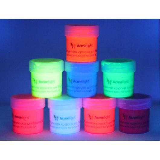 Аквагрим флуоресцентный AcmeLight для тела белый 20 мл - изображение 4 - интернет-магазин tricolor.com.ua