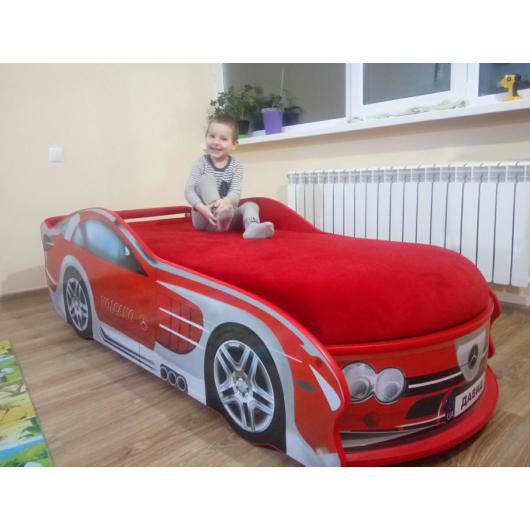 Кровать машина Mercedes красная 80х180 ДСП с подъемным механизмом - изображение 2 - интернет-магазин tricolor.com.ua