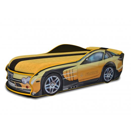 Кровать машина Mercedes желтая 70х150 ДСП с подъемным механизмом