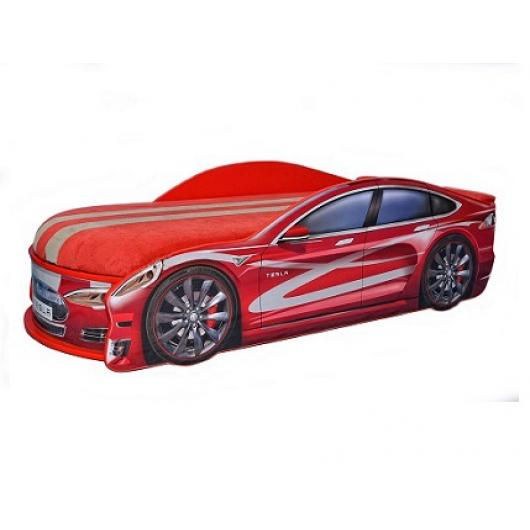 Кровать машина Tesla красная 80х180 ДСП с подъемным механизмом